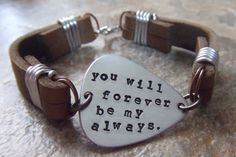 Personalized Handstamped Guitar Pick Leather Bracelet  for Fathers Men Dads - Mixed Metal