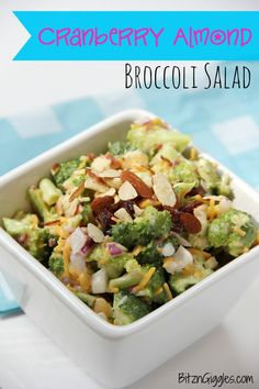 Cranberry Almond Broccoli Salad from Bitz & Giggles, is the perfect side dish for summer!