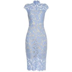Lover Warrior French-lace midi dress (€875) ❤ liked on Polyvore featuring dresses, light blue, lace dress, see through dress, light blue lace dress, blue dress and pencil dresses