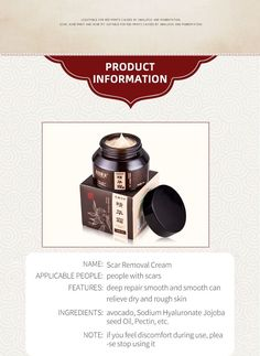 Scar Removal Cream, Product Information, Prints