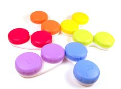 Equate contact lens cases from Walmart- they actually come in this rainbow pack  red green yellow orange purple blue color wheel rainbow