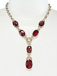 Anne Klein - Estate Y Necklace - Gold/Red