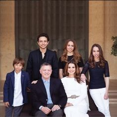 Jordan's Royal Family front left to right - King Abdullah II, Queen Rania, Prince Hashem, Crown Prince Hussein, Princess Iman and Princess Salma