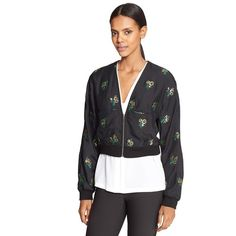 Stella McCartney Embroidered Fil Coupe Bomber ($1,368) ❤ liked on Polyvore featuring outerwear, jackets, wool jacket, stella mccartney, metallic jacket, embroidery jackets and stella mccartney jacket
