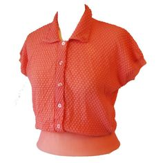 Coral pleated nylon unworn 1950s rockabilly cap sleeved top from a selection at www.candysays.co.uk