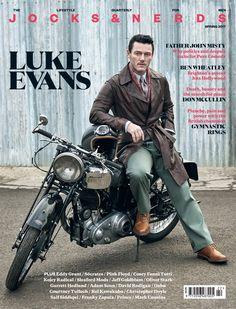 Luke Evans in the Spring 2017 issue of Jocks & Nerds magazine. Luke Evans, Eddy Grant, Mens Photoshoot Poses, Bike Style, Moto Style, Poses For Men, Famous Men, Man Photo, British Style