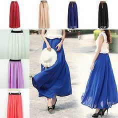 New Fashion Womens Chiffon Pleated Retro Long Elastic Waist Band Long Maxi Skirt