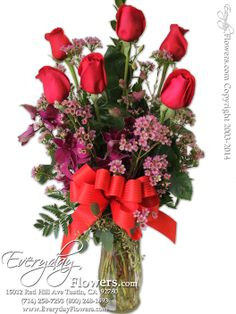 Half Dozen Red Roses With Purple Orchids