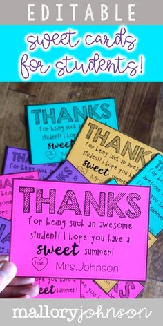 Student Gifts Discover Thank you cards from teachers to students. Have a sweet summer! These are editable! Student Gifts End Of Year, Teacher End Of Year, Student Teacher Gifts, End Of School Year, Teacher Notes, School Gifts, School Teacher, Card For Teacher, Back To School Ideas For Teachers