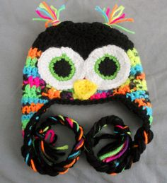 Crochet Boys or Girls Owl Earflap Hat Black and Neon by MyWindowSIL