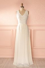 Febe - Ivory veil and lace maxi dress
