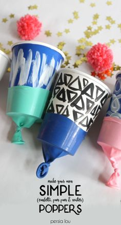 DIY Confetti / Pom Pom / Water Poppers - Persia Lou - Make your own simple confetti or pom pom poppers. Super fun kids' craft The Effective Pictures W - New Year's Crafts, Fun Crafts For Kids, Diy For Kids, Easy Crafts, Arts And Crafts, Paper Crafts, Craft Kids, Halloween Games For Kids, Kids Party Games