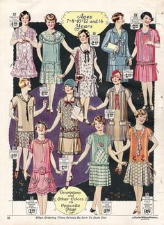 1920s girls fashion dresses youth kids clothing 1928