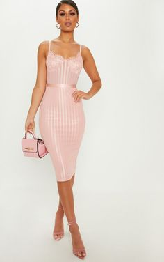 3d00dbbb06d Dusty Pink Lace Detail Striped Mesh Midi Dress