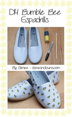 DIY Bumblebee Shoes #bee #diy #how to style