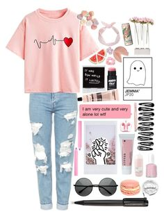 """""""Hey, guys I'm back!"""" by future-traveler on Polyvore featuring Topshop, WithChic, Aesop, Accessorize, Korres, PhunkeeTree, PAM, Anastasia, Harley-Davidson and Davines"""