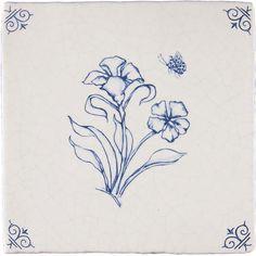 Dutch Blue 17th Century Antiqued Delft Tile Blossoms and Butterflies: Set of 4 Delft Flower Tiles