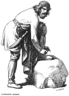 'Víðarr straps his Shoe on  By Hans Christian Henneberg (1826-93)   based on a work by Constantin Hansen (1804-1880)