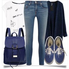 School Style by madeinmalaysia on Polyvore featuring MANGO, rag & bone, Vans, women's clothing, women's fashion, women, female, woman, misses and juniors
