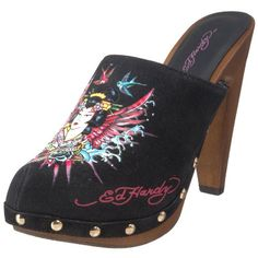 $73.10-$86.95 Ed Hardy Women's Portland Clog,Black-10fpr102w,10 M US - Say everything without a word in confident Ed Hardy Portland dress clogs.Faux leather upper in a slip-on dress clog style with a round toeEd Hardy logo and signature tattoo-style screen print detailMetallic stud detailSynthetic lining, lightly cushioned insole1 1/2 inch wood platform, 4 1/2 inch heelRubber traction outsole {Url ...