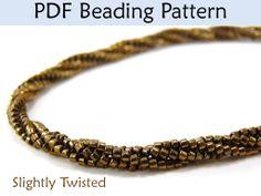 Slightly Twisted Herringbone Bracelet Necklace PDF Beading Pattern Tutorial