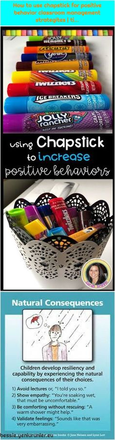 Positive Discipline: NATURAL CONSEQUENCES---consider the use of these in your cl. How to use chapstick for positive behavior classroom management. Positive Discipline, Positive Behavior, Behavior Management, Classroom Management, Classroom Behavior, Used Iphone, Being Used, About Me Blog, Positivity