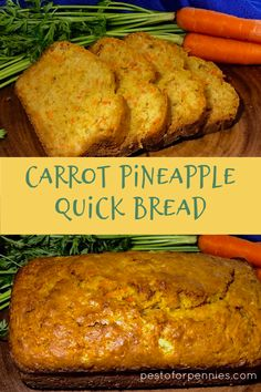 bread recipes sweet This is a no fuss easy-to-make Carrot Pineapple Quick Bread. Sweet and moist, but guilt free without extra sugars and fat. A kid friendly treat that will please Carrot Cake Bread, Carrot Loaf, Fruit Bread, Dessert Bread, Carrot Cookies, Pineapple Loaf Recipes, Pineapple Bread, Carrot Recipes, Carrot Bread Recipe With Pineapple