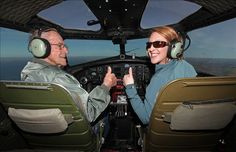 """Paul Poberezny: Life of an Aviation Icon - Paul Poberezny and Granddaughter/Pilot Audra Hoy flying in EAA's B-17 Bomber """"Aluminum Overcast"""" in April 2012. Photo credit: EAA"""