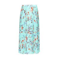 Raey Floral-print peated midi skirt (200 CAD) ❤ liked on Polyvore featuring skirts, green print, knee length pleated skirt, floral skirt, long blue skirt, green skirt and green pleated skirt