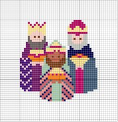 Reyes Magos - --- - Magi wise men three 3 kings Christmas cross stitch                                                                                                                                                      Más