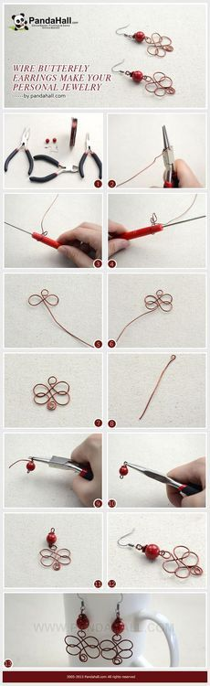 Jewelry Making Tutorial--DIY Personalized Wire Butterfly Earrings