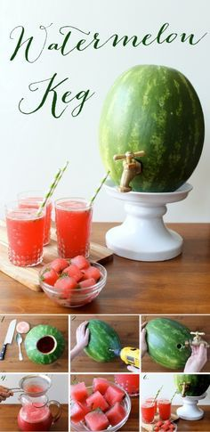 Watermelon keg- Unique (alcoholic or non-alcoholic) drink serving idea for summer parties Party Drinks, Fun Drinks, Sweet Cocktails, Watermelon Keg, Watermelon Wedding, Watermelon Carving, Drunken Watermelon, Malibu Rum, Festa Party