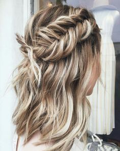 32 unique braid hairstyle ideas you should try - Dutch Fishtail braid hairstyles, braided updo hairstyle Dutch Fishtail Braid, Fishtail Braid Hairstyles, Box Braids Hairstyles, Pretty Hairstyles, Wedding Hairstyles, Hairstyle Ideas, Braided Updo, Updo Hairstyle, School Hairstyles