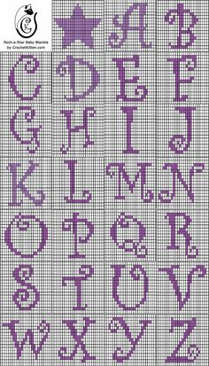 Alphabet chart for crochet - could be used for cross stitch. Crochet Letters Pattern, Graph Crochet, Tapestry Crochet Patterns, Letter Patterns, Filet Crochet, Crochet Stitches, Embroidery Stitches, Crochet Alphabet Letters, Embroidery Patterns
