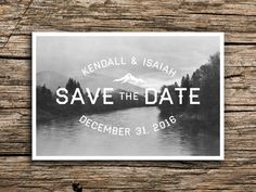 Pacific Northwest Postcard Save the Date // Vintage Post Card Mountain Save the Date River Save the Date Mountain Wedding Oregon Washington
