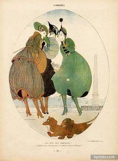 Gerda Wegener 1916 Elegantes Parisienne, Place De La Concorde, Teckel Dog, Dachshund