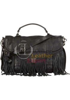 #Women Black Leather Fur Hand Bag