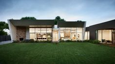 modern house yard rear window wall meadow