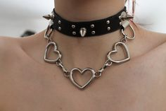 Find images and videos about black, grunge and aesthetic on We Heart It - the app to get lost in what you love. Star Necklace, Heart Pendant Necklace, Heart Earrings, Heart Choker, Heart Chain, Pulseras Kandi, Estilo Harajuku, Latest Fashion For Women, Womens Fashion