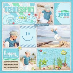 1. Kit: Ocean Safari by Kristin Aagard Designs 2. Kit: Little Traveler by Kristin Aagard Designs  3. Template: Simply Blocked II by Little Green Frog Designs -  4. Cindy's Layered Cards: Everyday 3 by Cindy Schneider.