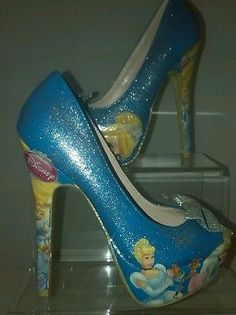 Disney's Cinderella handmade custom blue sparkle shoes