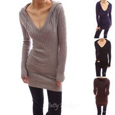 Cable Hooded V Neck Long Sleeve Pullover Fitted Knit Tunic Sweater Top Long Sweaters, Sweaters For Women, Tunic Sweater, Jumper, Tunic Leggings, Sweater Dresses, Hooded Sweater, Cool Outfits, Fashion Outfits