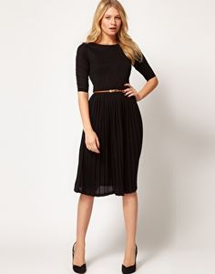 ASOS Midi Dress With Pleated Skirt
