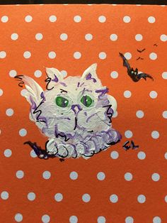 Halloween favor bag, lunch bag sized gift sack. Original scary kitty painting divined C.L 3x3 square, orange with white dots, folding card, can be purchased alone (excess shipping will be promptly refunded) Or have card tied to lunch sized gift sack- 8.5 x 5.25 x 3.15 scalloped edged bag With handle. *choice of plain black or white polka dots.