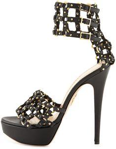 b5dd670dda295 Charlotte Olympia - Black Xena Triple-buckle Leather Platform Sandal - Lyst