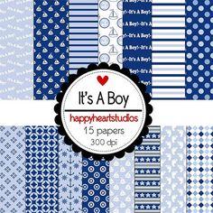 Digital Scrapbook It's A Boy-INSTANT DOWNLOAD