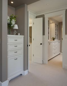 Wall color, built-ins, door framing [ love all of this  the grey color! ]