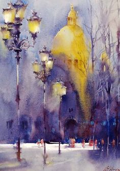 Kai Fine Art is an art website, shows painting and illustration works all over the world. Watercolor Architecture, Watercolor Landscape, Abstract Watercolor, Landscape Art, Landscape Paintings, Watercolor Trees, Abstract Paintings, Art Paintings, Abstract Art