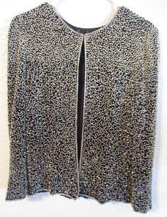 8d72110872a8a Vintage Laurence Kazar Heavily Beaded Jacket Blazer Black Beaded Jacket