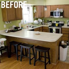 Green Brown Ugly Kitchen Old Retro Remodel Design